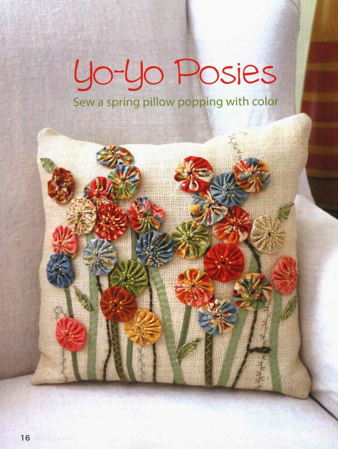 Yo-Yo Posies. Sew a spring pillow popping with color. Подушка