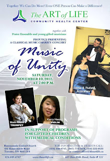 Prater Ensemble and The Art of Life Community Health Centre Charity Concert Music of Unity, November 10, 2012 at Runnymede United Church, poster