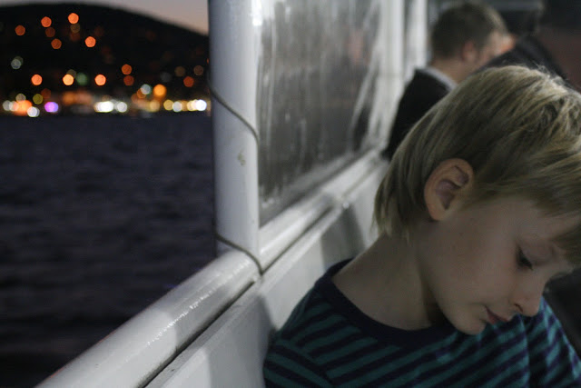 Matti on the boat home.
