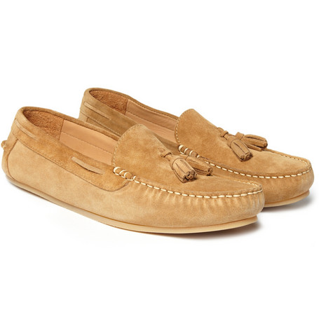 white tassel loafers. A.P.C. Suede Tassel Loafers in