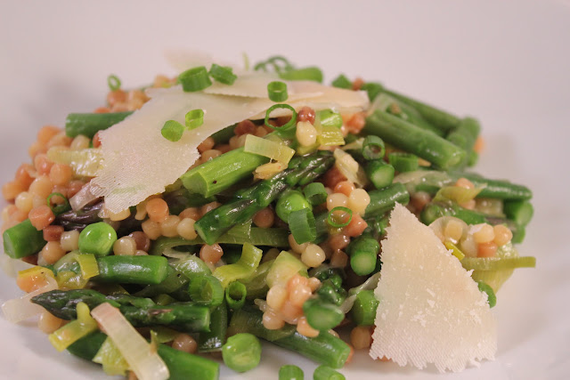 Fregola with spring vegetables