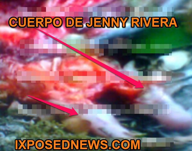 PARTE DE EL CUERO CABELLUDO DE JENNY RIVERA Y SU CUERPO QUE QUEDO