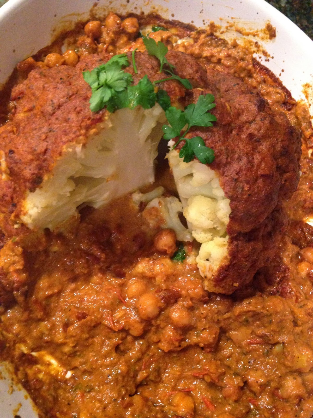 Whole Roasted Cauliflower and Chickpeas with a Spiced ...