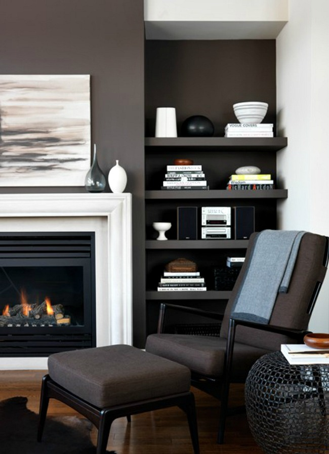 Planning to paint a brick fireplace inspiration dans le lakehouse - Black and white fireplace ...