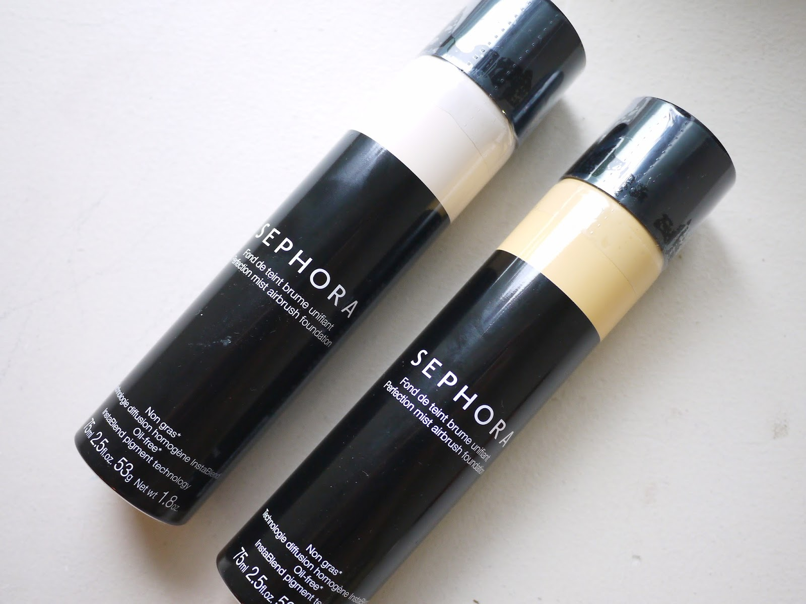 Sephora Perfection Mist Airbrush Foundation* review cream and fawn swatch