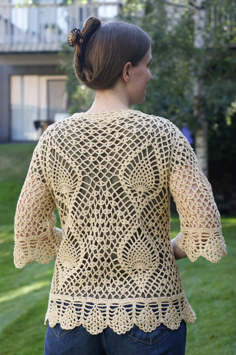 Crocheting Sweaters : We do it the Hard Way: Cream Pineapple Crochet Sweater