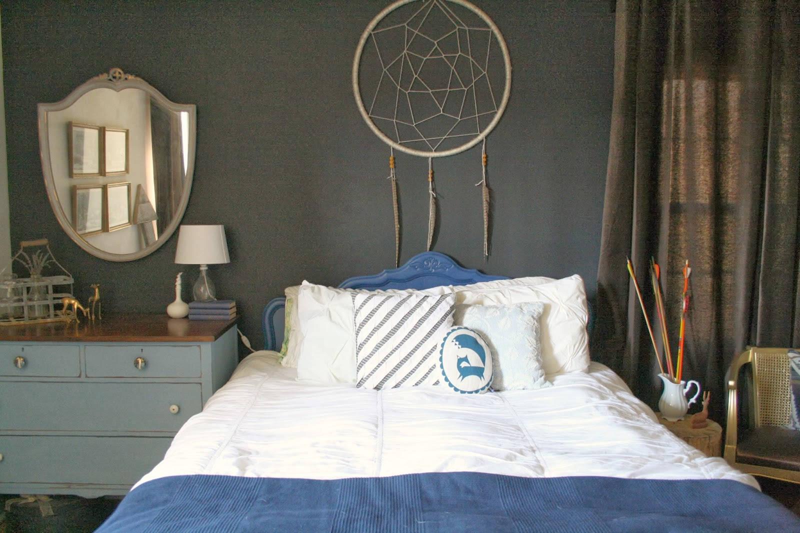 Dream Catcher Above Bed Moody Boho Bedroom Guest Room Reveal Cassie Bustamante 8