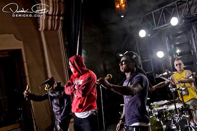 Imagen de Swizz Beatz, The Game, Lil Wayne y Travis Barker en el rodaje del video de Can A Drummer Get Some ? del nuevo disco de Travis Barker llamado Give the drummer some