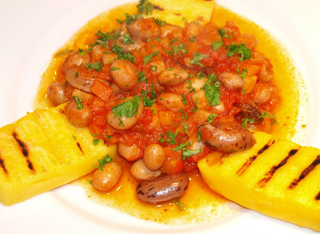 "beans in Tomato sauce with griddled Polenta"". It is a really easy ..."