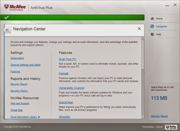 McAfee Antivirus Plus 2014 - Navigation Center