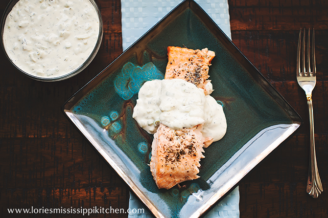 Grilled Salmon with Cucumber and Dill Cream Sauce
