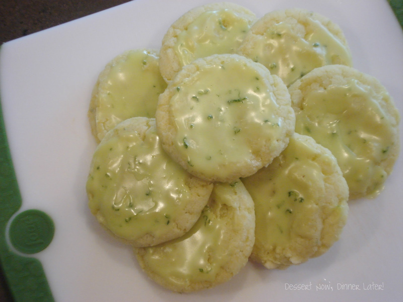 Lime Crinkle Cookies with Glaze - Dessert Now, Dinner Later!