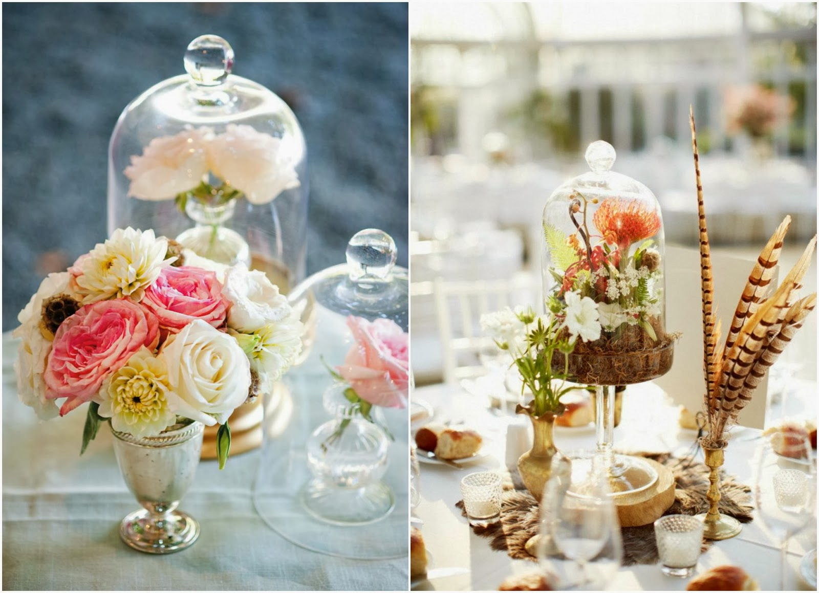 Decora la mesa con campanas de vidrio a todo confetti - Mesas de cristal para bodas ...