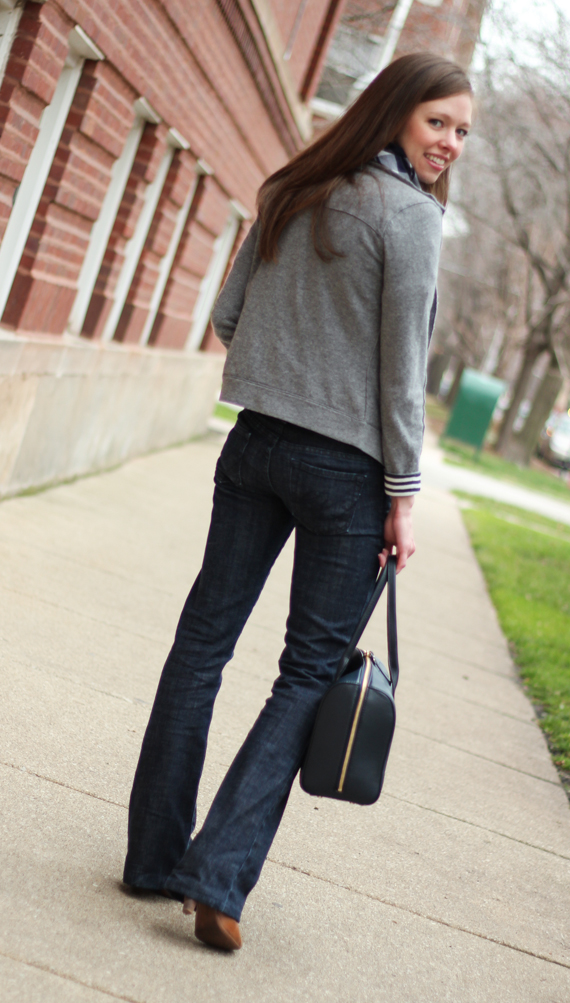 StyleSidebar - Gray Wool Cardigan, Jeans, Navy &amp; White Stripes
