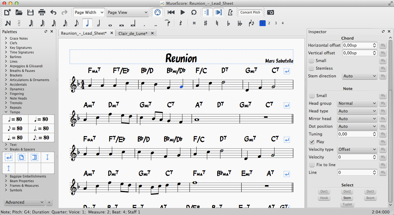 MuseScore Beta 2.0 screenshot featuring jazz font