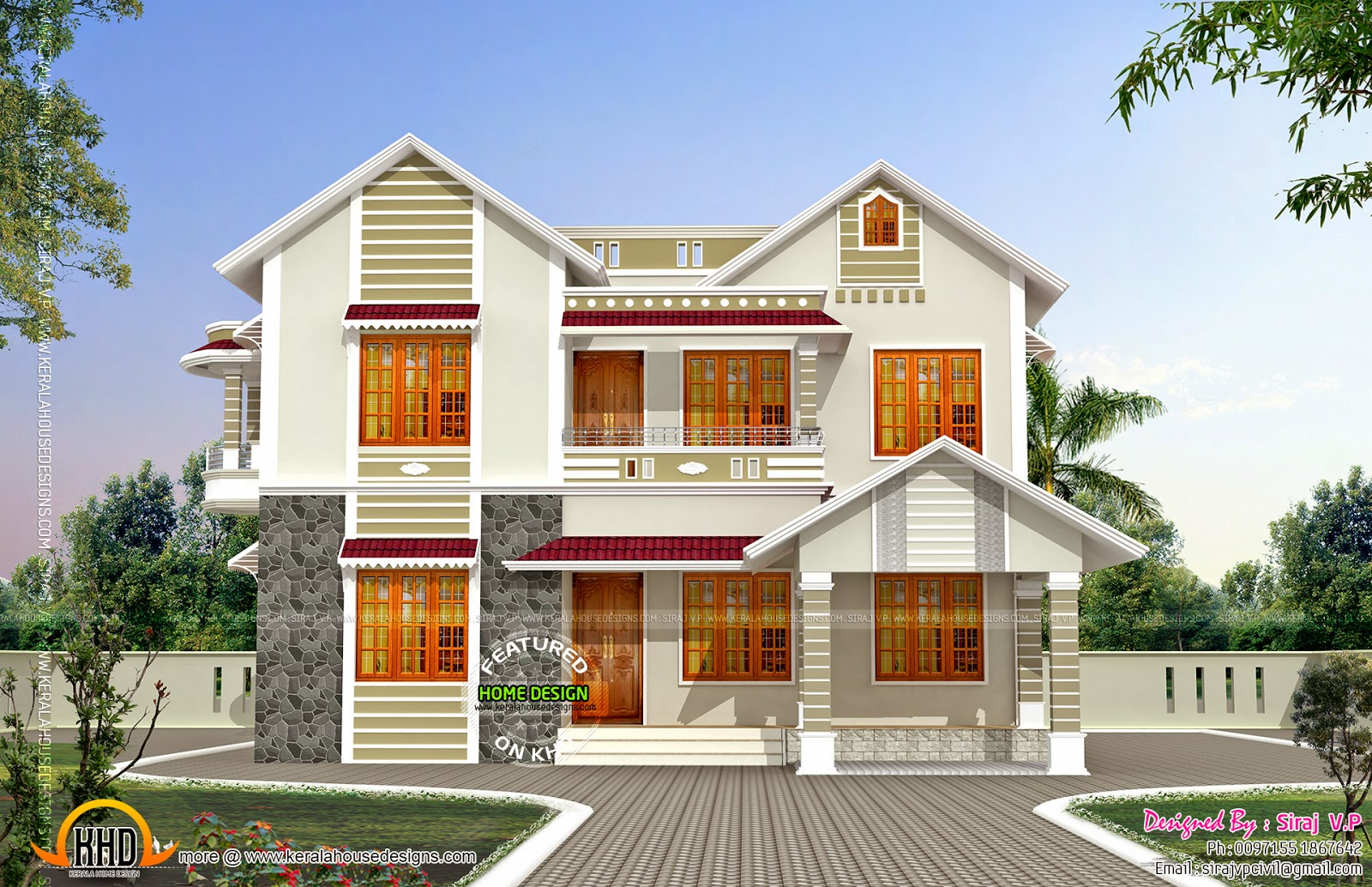 Front and side elevation of house kerala home design and for Design for house