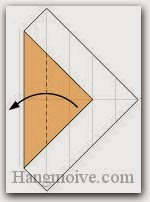 Bước 6: Gấp cạnh giấy sang trái.