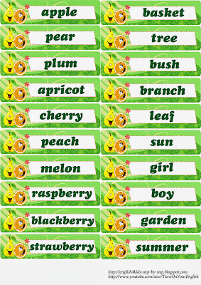words for fruit flashcards