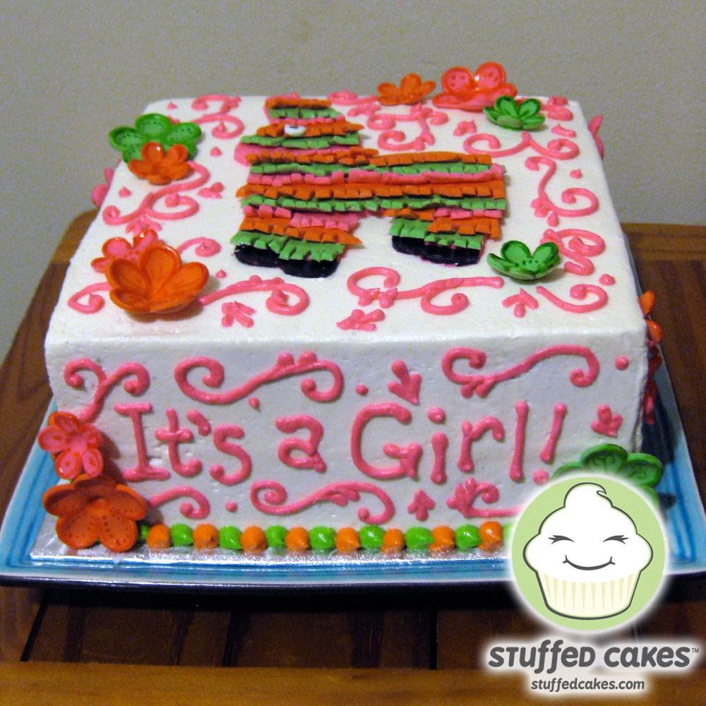Strawberry Shortcake Baby Shower Supplies Part - 46: This Cute Piñata Cake Was Made For A Baby Girl. I Hand-cut Fondant Strips,  Creating The Fringed Texture On The Donkey And Accented The Cake With  Flowers And ...