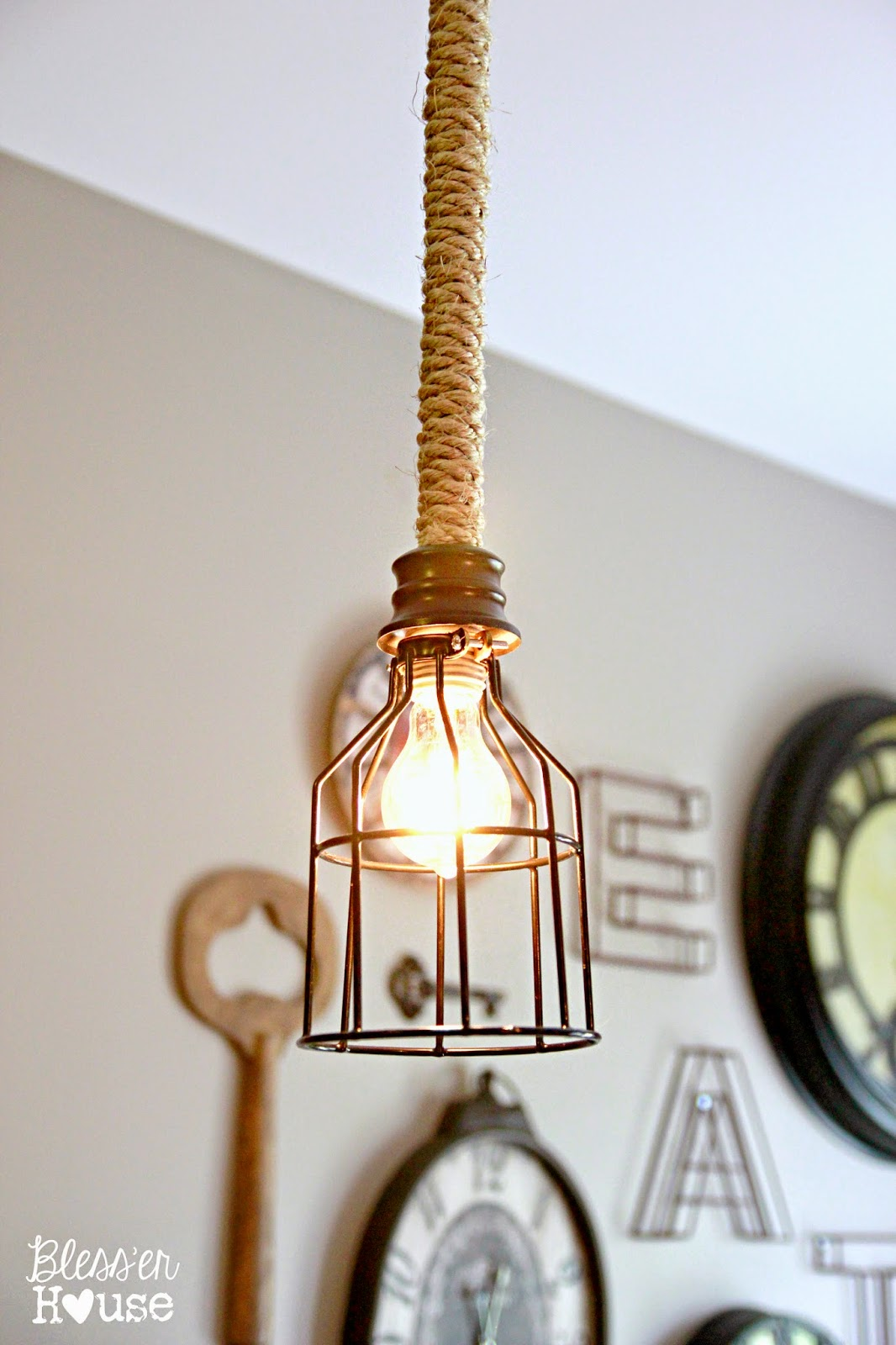 Diy industrial pendant light for under 10 bless 39 er house for Diy pendant light