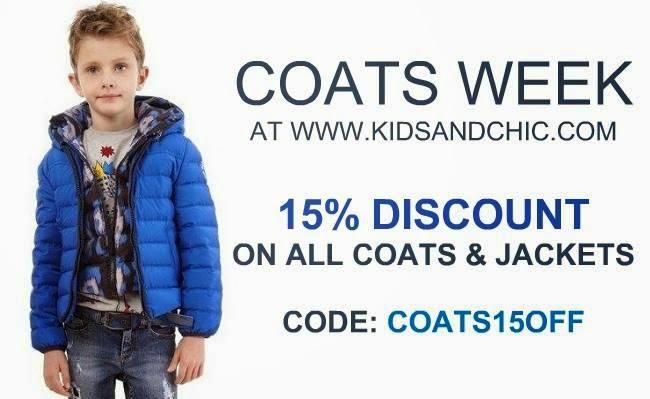 15% discount on all coats and jackets for boys and girls