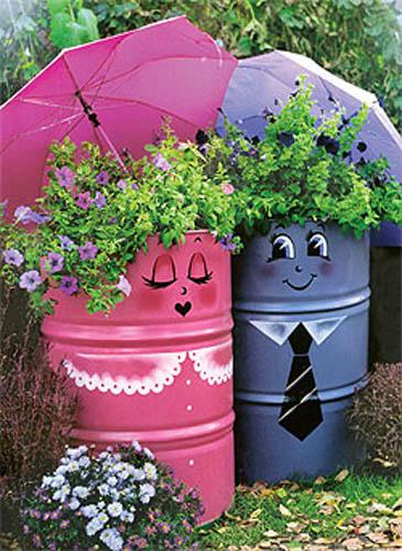 ideias jardins pequenos:Se pretende gastar pouco dinheiro na decoração aposte em reciclagem