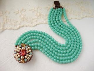 Swarovski mdmButiik rhinestone jewelry Lucite green pearl