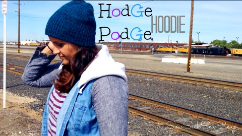 Hodge podge hoodie, diy hoodie, repurposed hood, repurposed tank, repurposed pants