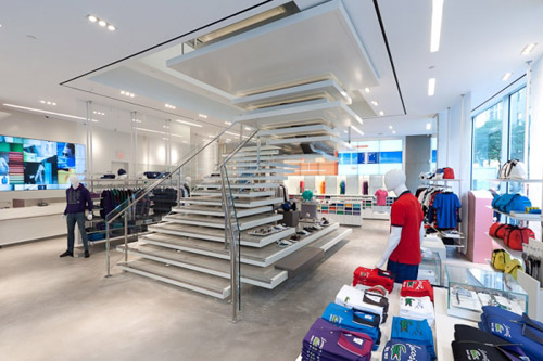 Lacoste shop design hanging stairs