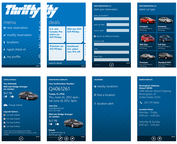 Thrifty Car Hire Windows App - Travopia