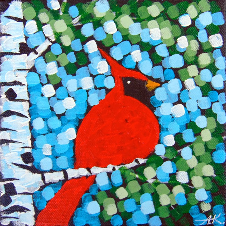 Cardinal, Aaron Kloss, Painting, Minnesota, Birch Tree, Spring, Pointillism, Art