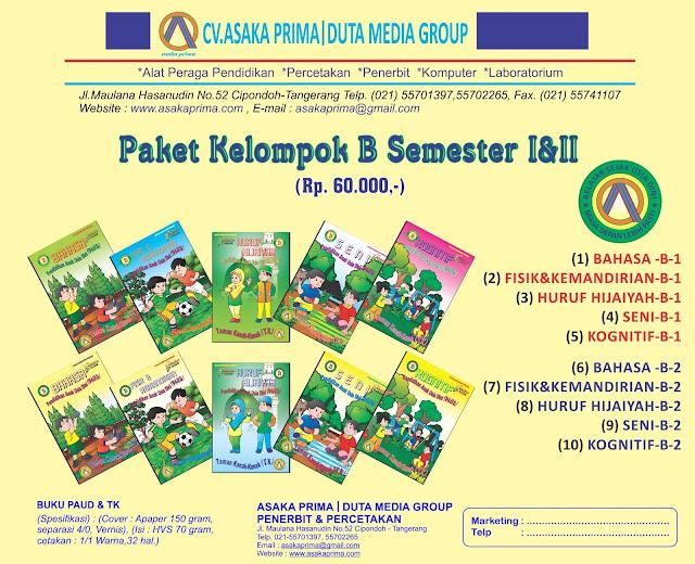 Buku Paket TK/PAUD Mengacu Permendiknas No. 58 tahun 2009 Tentang StandarPendidikan Anak Usia DiniHarga : Rp. 60.000/1 paket ekonomi (10 judul buku)Rincian judul 1 paket :