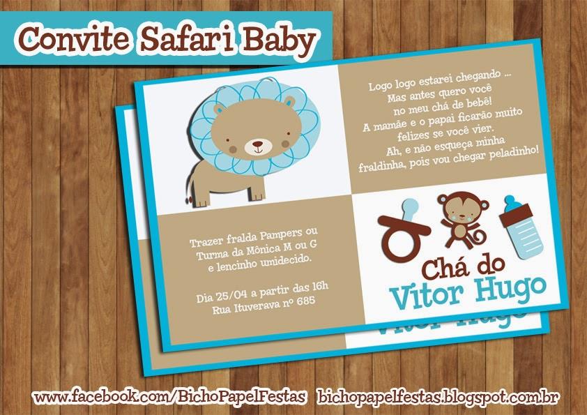Arte Convite Chá de Bebê Safari