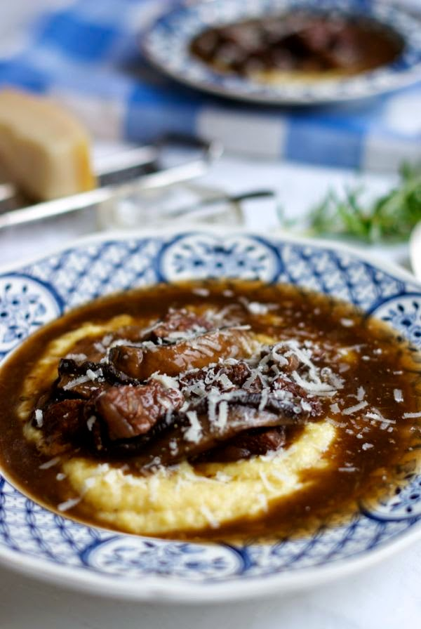 Italian beef and mushroom stew with polenta