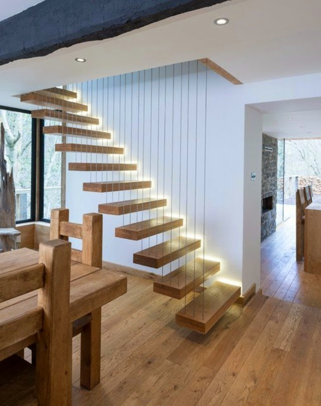 Elegant Floating Stairs Designs: Wall Decoration, Space .