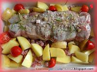 Arrosto di vitello con patate e pomodorini