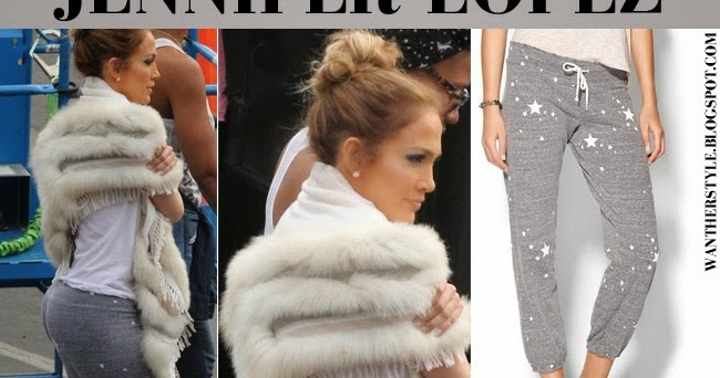 What She Wore Jennifer Lopez In Grey Star Print Sweatpants And White Wedge Sneakers In La On