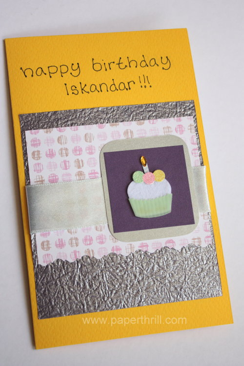Cupcake birthday present pop up card