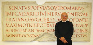 Paul with Catich Cast of The Trajan Inscription in Rome.