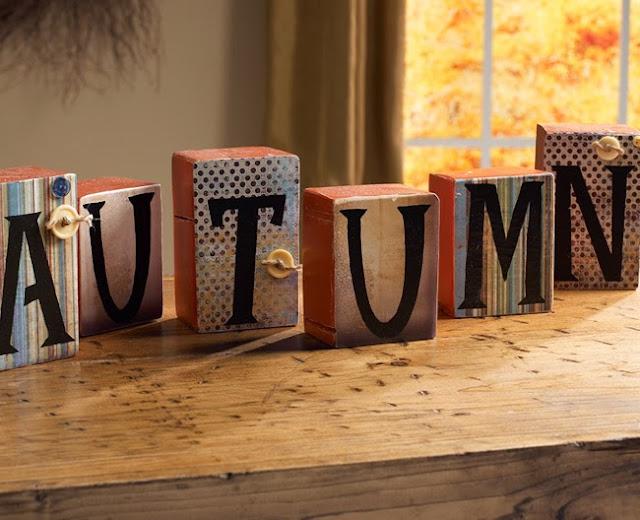 dekoracja decoupage drewniane litery fall decoration