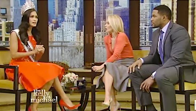 Pia Wurtzbach guess at Kelly and Michael Show and Good Morning America