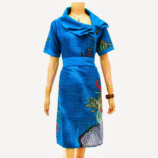 DB3205 Model Baju Dress Batik Modern Terbaru 2014