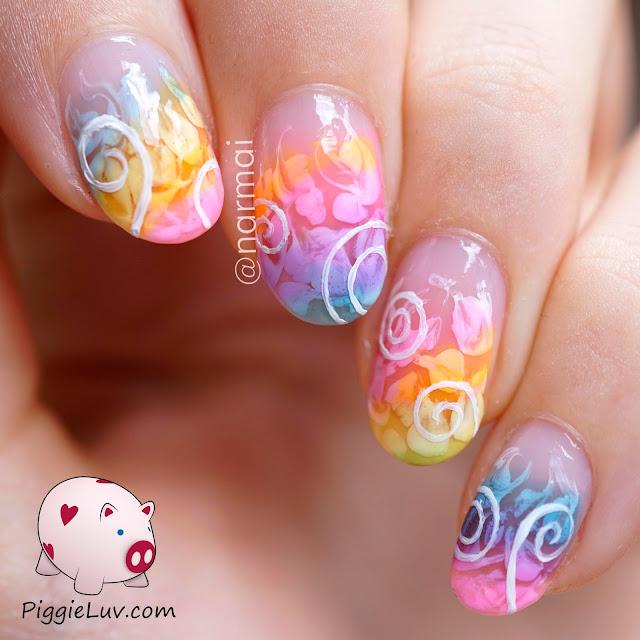 Piggieluv Rainbow Bubbles Nail Art: PiggieLuv: Sheer Tints Swirls Easy Nail Art