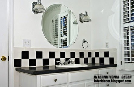black and white bathroom tiles, black wall tiles