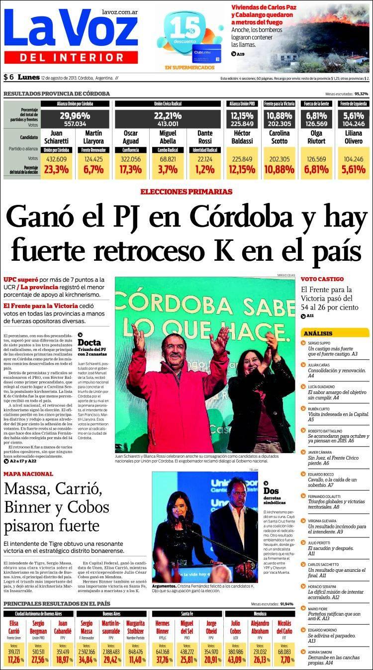 De elecciones portadas de diarios de salta santiago del estero c rdoba y santa fe - La voz del interior ...