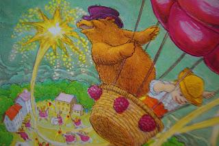 Bear and Boy in berry balloon from Bruce Degen's Jamberry
