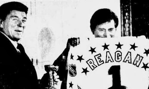 Presidents Reagan and Ziegler at a White House luncheon before the 1982 NHL All-Star Game at Capital Centre
