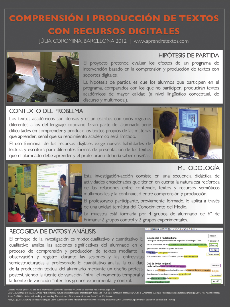 Póster de la investigación (I-S)   Investigació Educativa