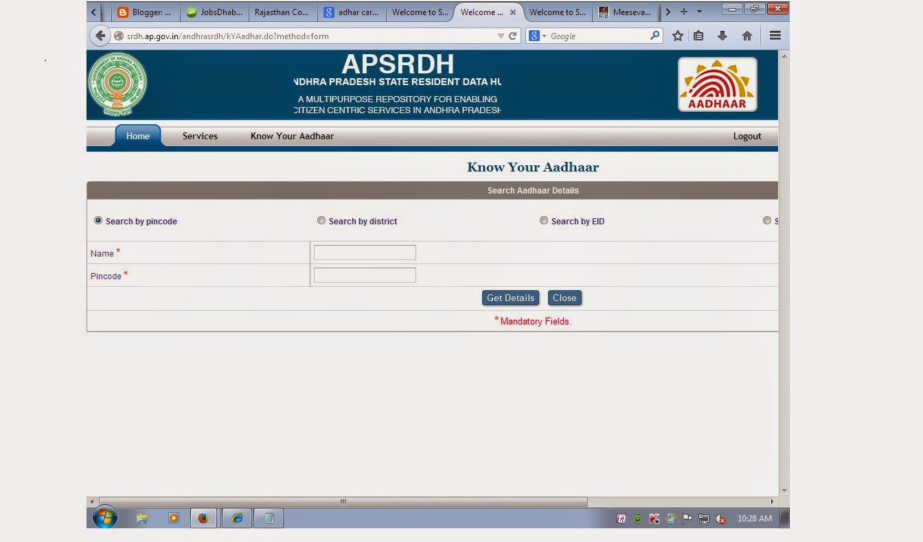 Aadhar Card Status by Name and Date of Birth | adharcard.in