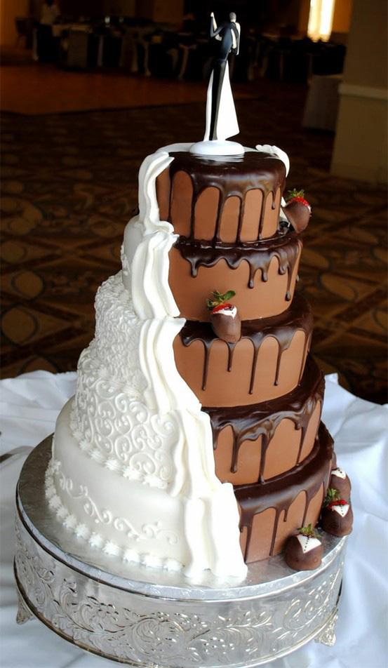 bolo de casamento de duas cores branco e chocolate marrom delicia
